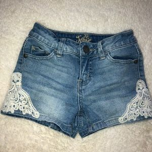 Justice denim short with lace detail
